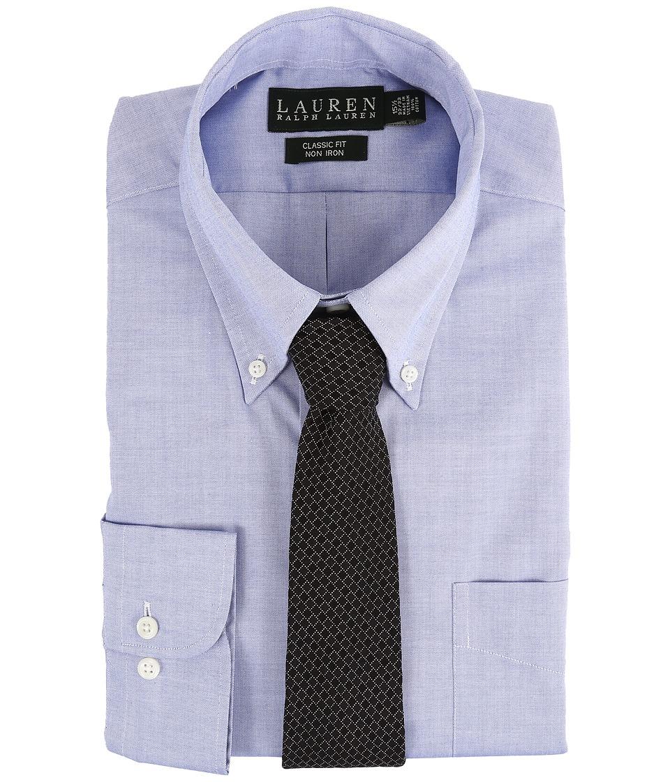 LAUREN Ralph Lauren - Pinpoint Classic Button Down Shirt (Blue) Men's Long Sleeve Button Up