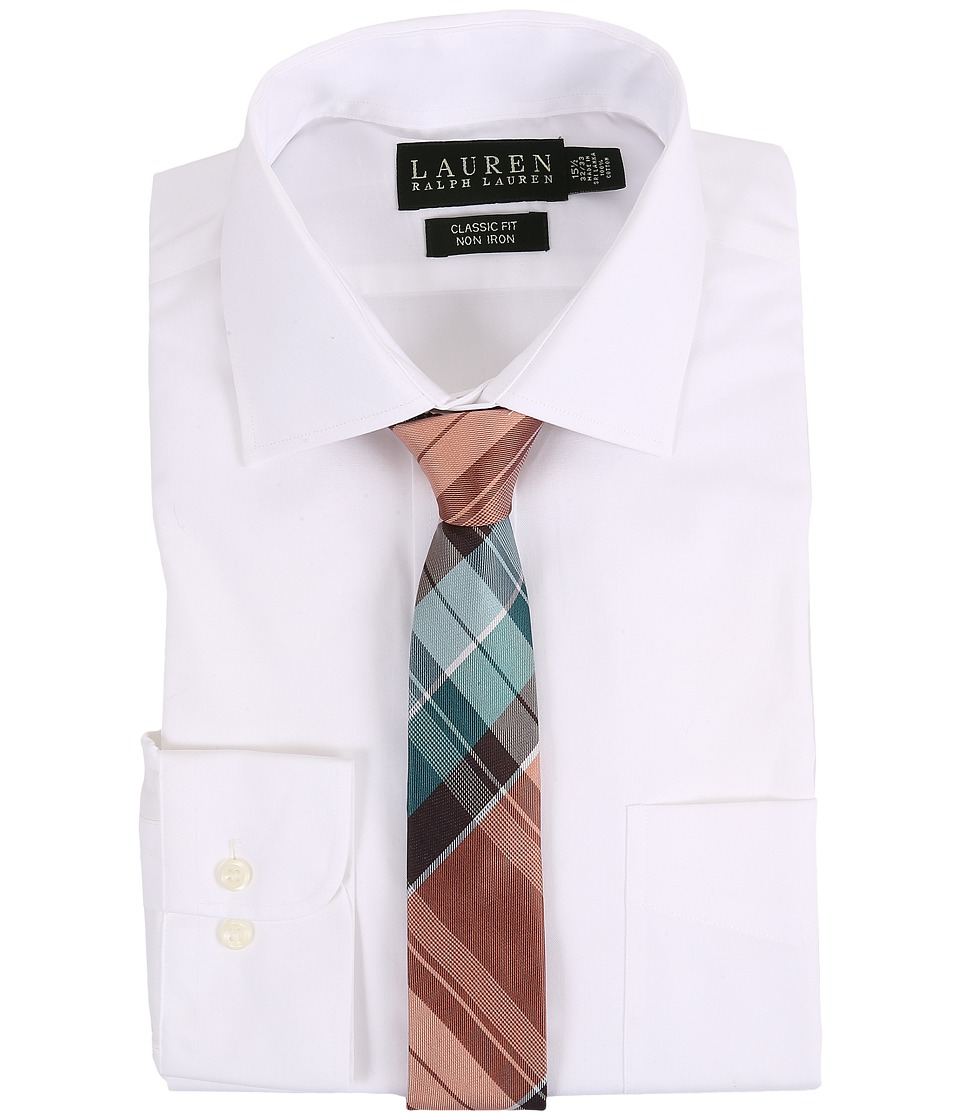 LAUREN Ralph Lauren - Pinpoint Spread Collar Classic Button Down Shirt (White) Men's Long Sleeve Button Up