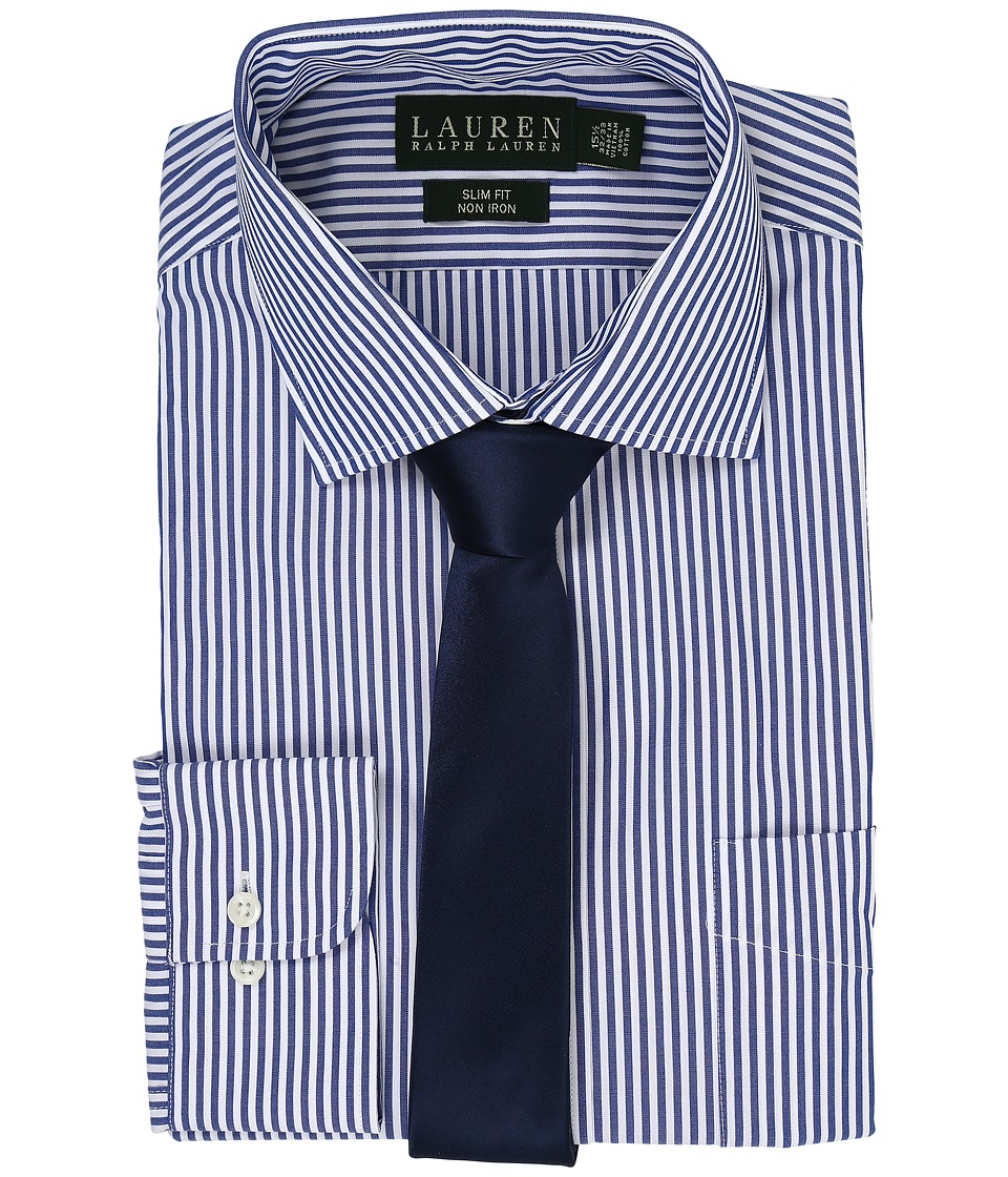 LAUREN Ralph Lauren - Bengal Stripe Spread Collar Slim Button Down Shirt (Blue/White) Men's Long Sleeve Button Up