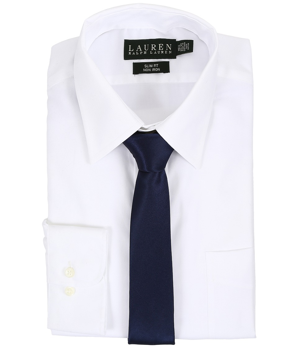 LAUREN Ralph Lauren - Pinpoint Point Collar Slim Button Down Shirt (White) Men's Long Sleeve Button Up