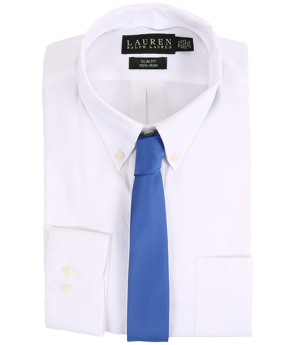 LAUREN Ralph Lauren - Pinpoint Slim Button Down Shirt (White) Men's Long Sleeve Button Up