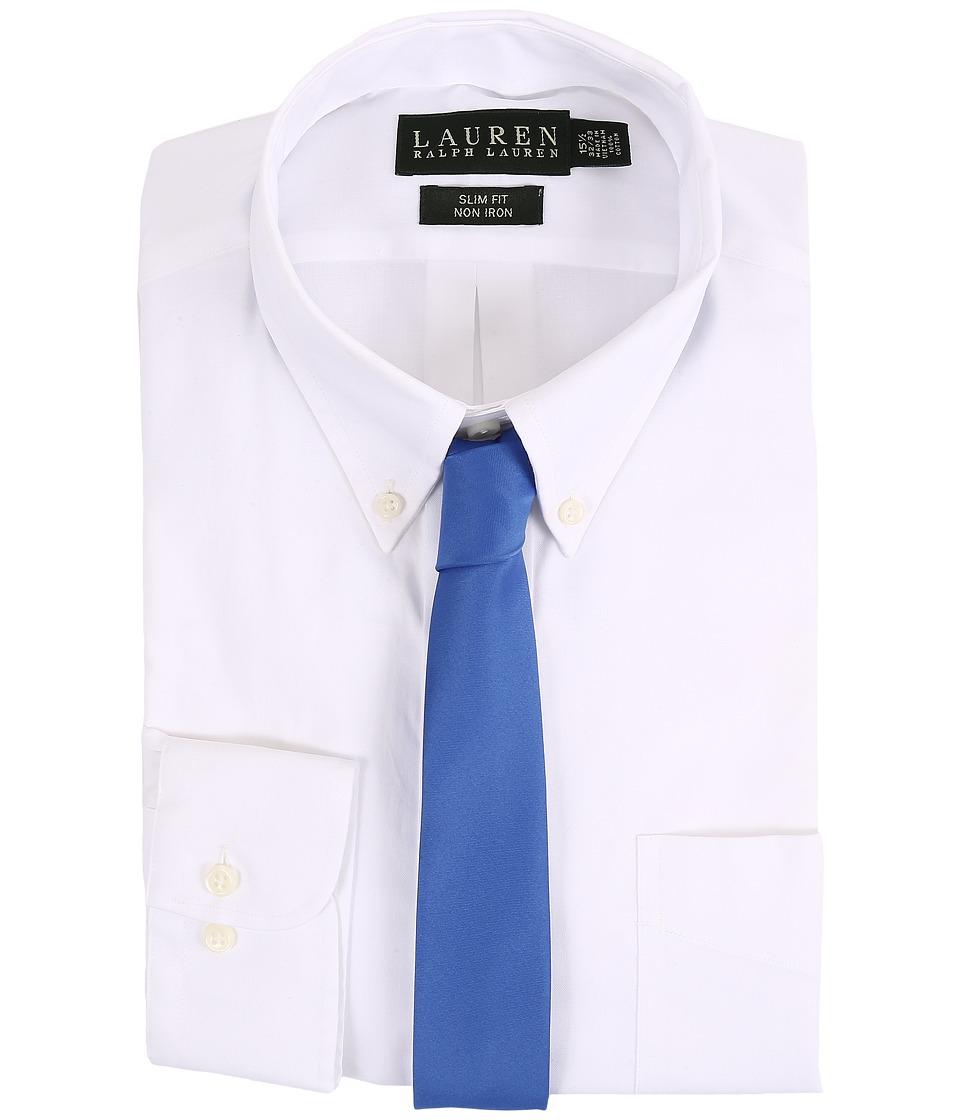 LAUREN Ralph Lauren - Pinpoint Slim Button Down Shirt (White) Men's Long Sleeve Button Up