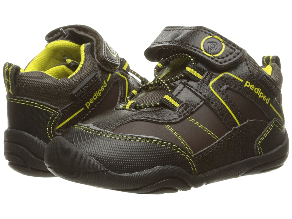pediped - Max Grip n Go (Toddler) (Chocolate/Yellow) Boy's Shoes