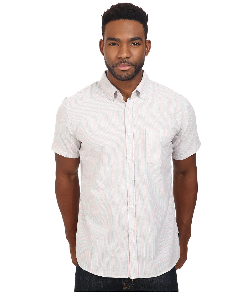 Brixton - Arthur Short Sleeve Woven (Grey Stripe) Men's Short Sleeve Button Up