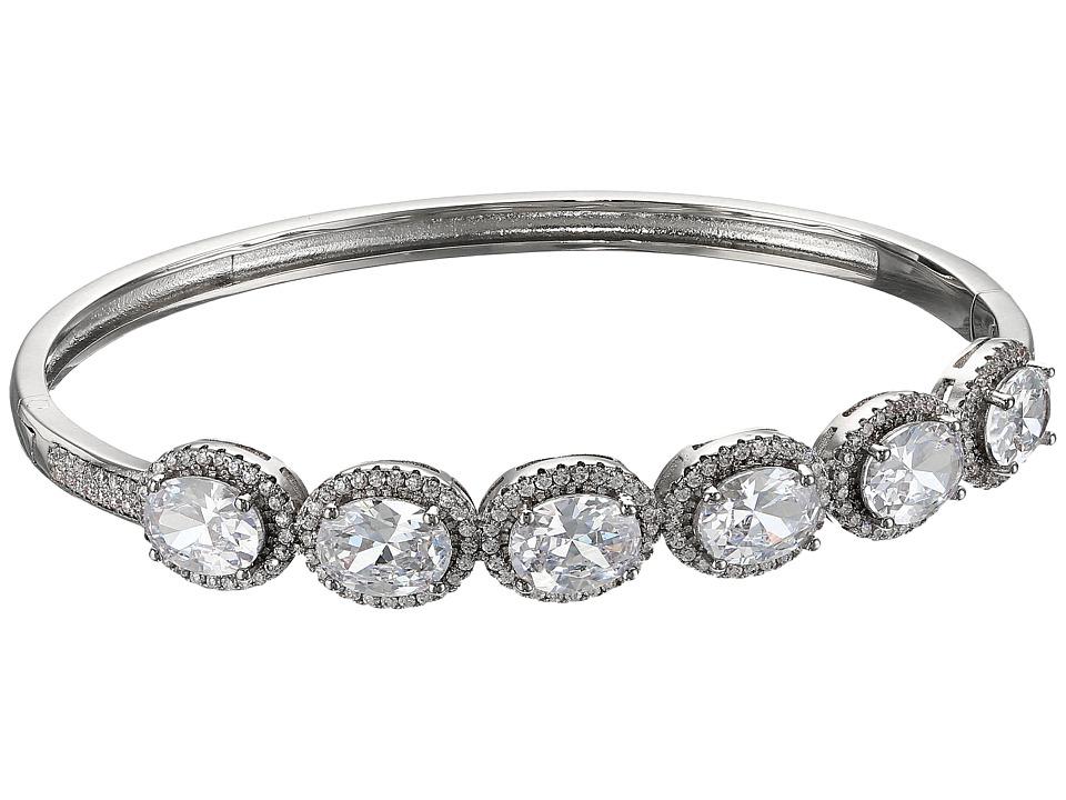 Nina - Oval Halo Cuff Bracelet (Palladium/CZ) Bracelet