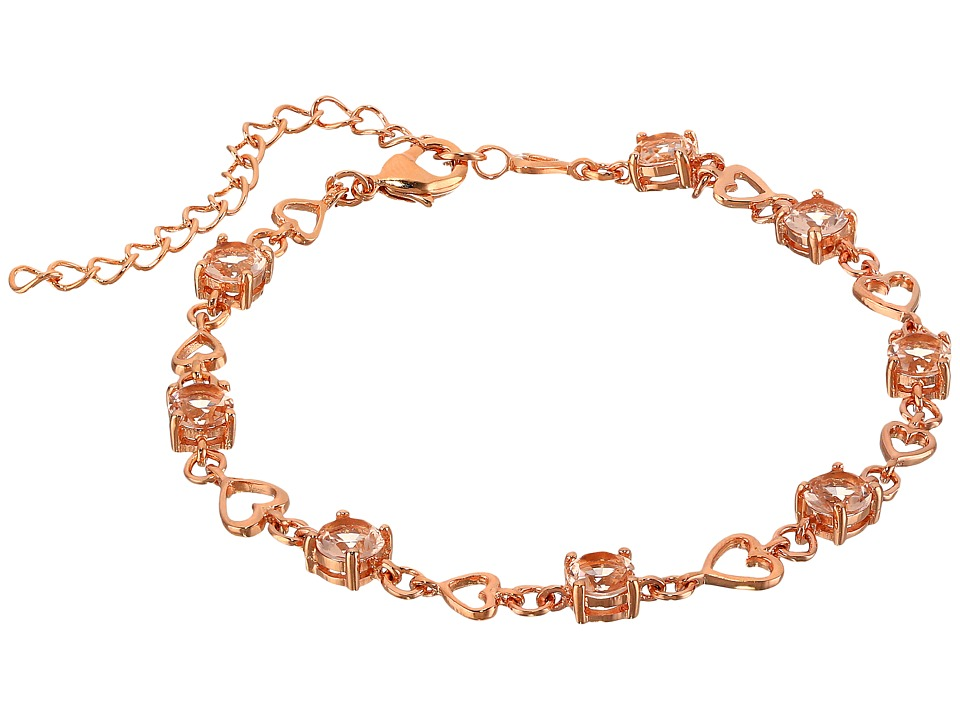 Nina - Morganite Heart Link Bracelet (Rose Gold Morganite) Bracelet