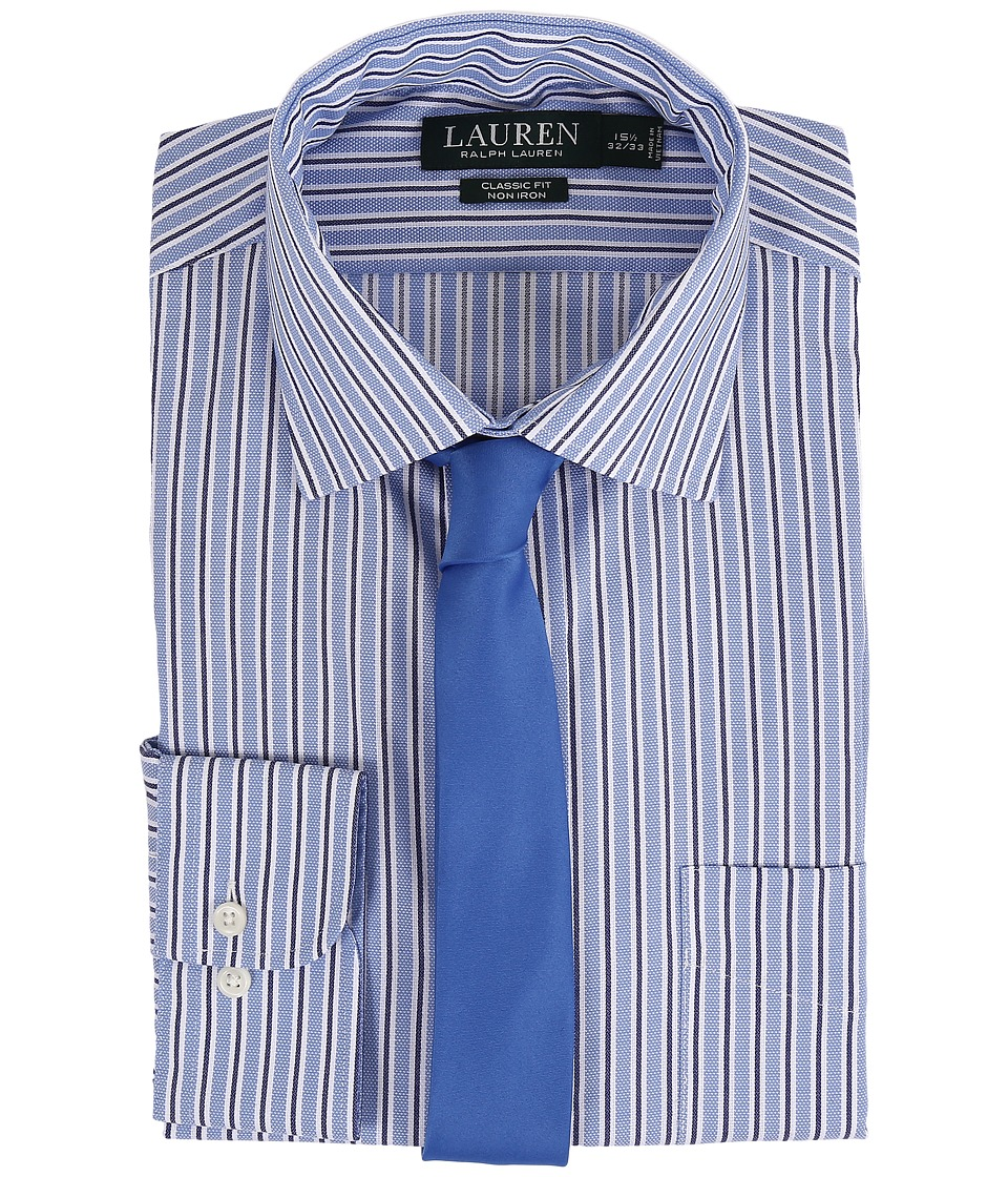 LAUREN Ralph Lauren - Striped Oxford Spread Collar Classic Button Down Shirt (Blue/White/Navy) Men's Long Sleeve Button Up