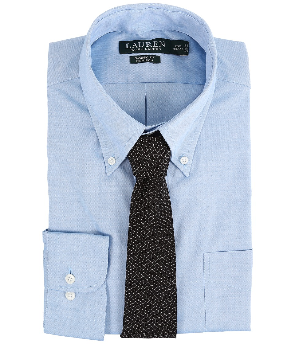 LAUREN Ralph Lauren - Pinpoint Classic Button Down Shirt (Turquoise) Men's Long Sleeve Button Up