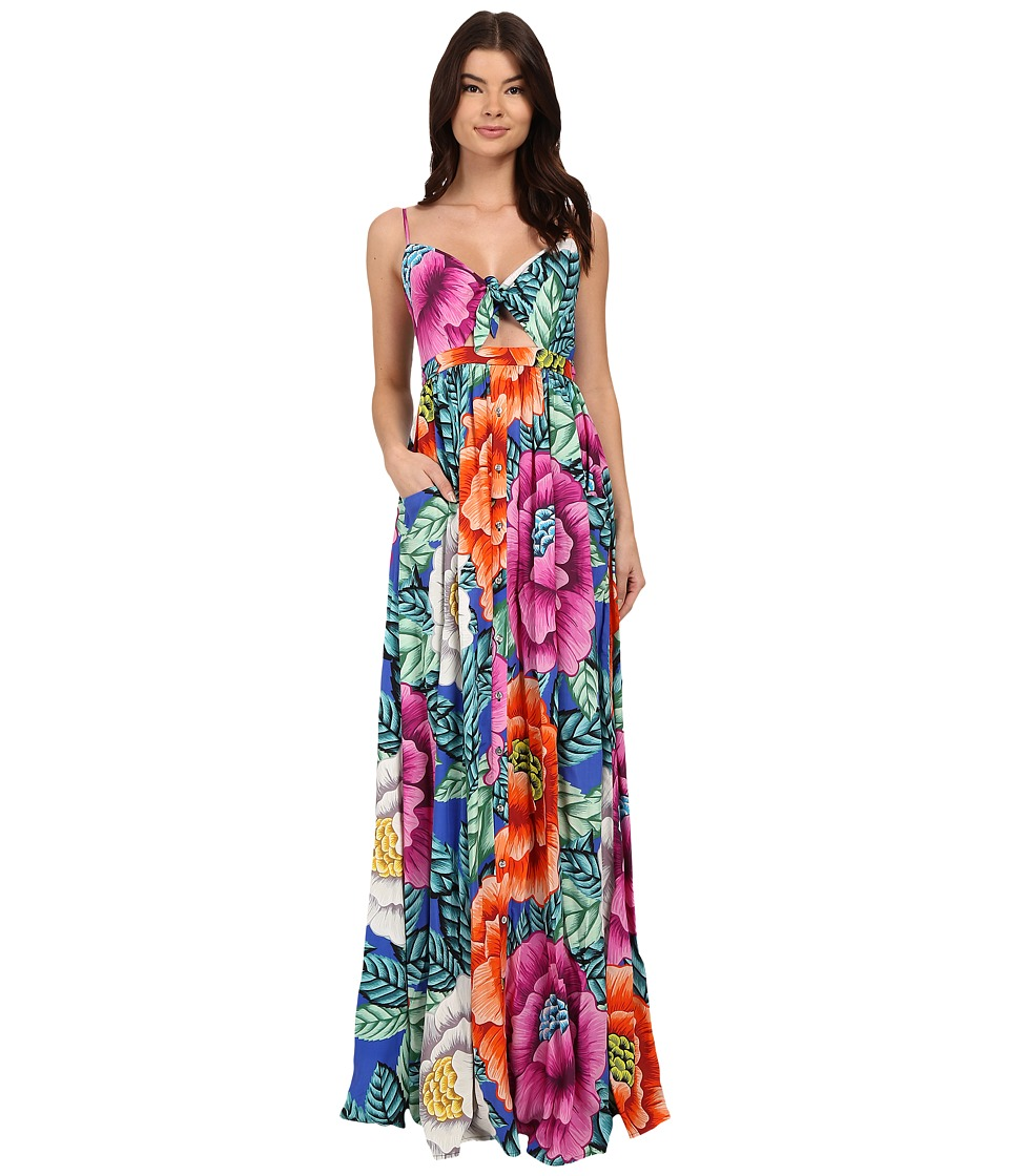Mara Hoffman - Rayon Tie Front Maxi Dress (Blue Multi) Women's Dress
