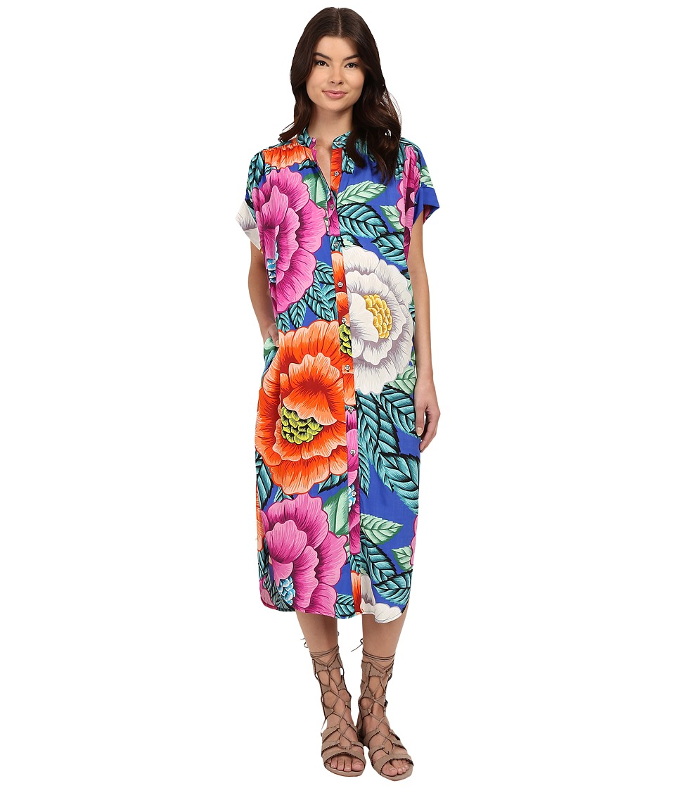 Mara Hoffman - Rayon Button Down Dress (Blue Multi) Women's Dress