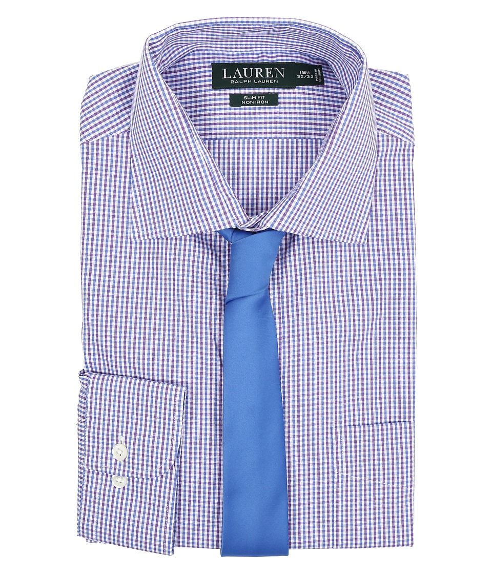 LAUREN Ralph Lauren - Check Spread Collar Slim Shirt (White/Blue/Purple) Men's Long Sleeve Button Up