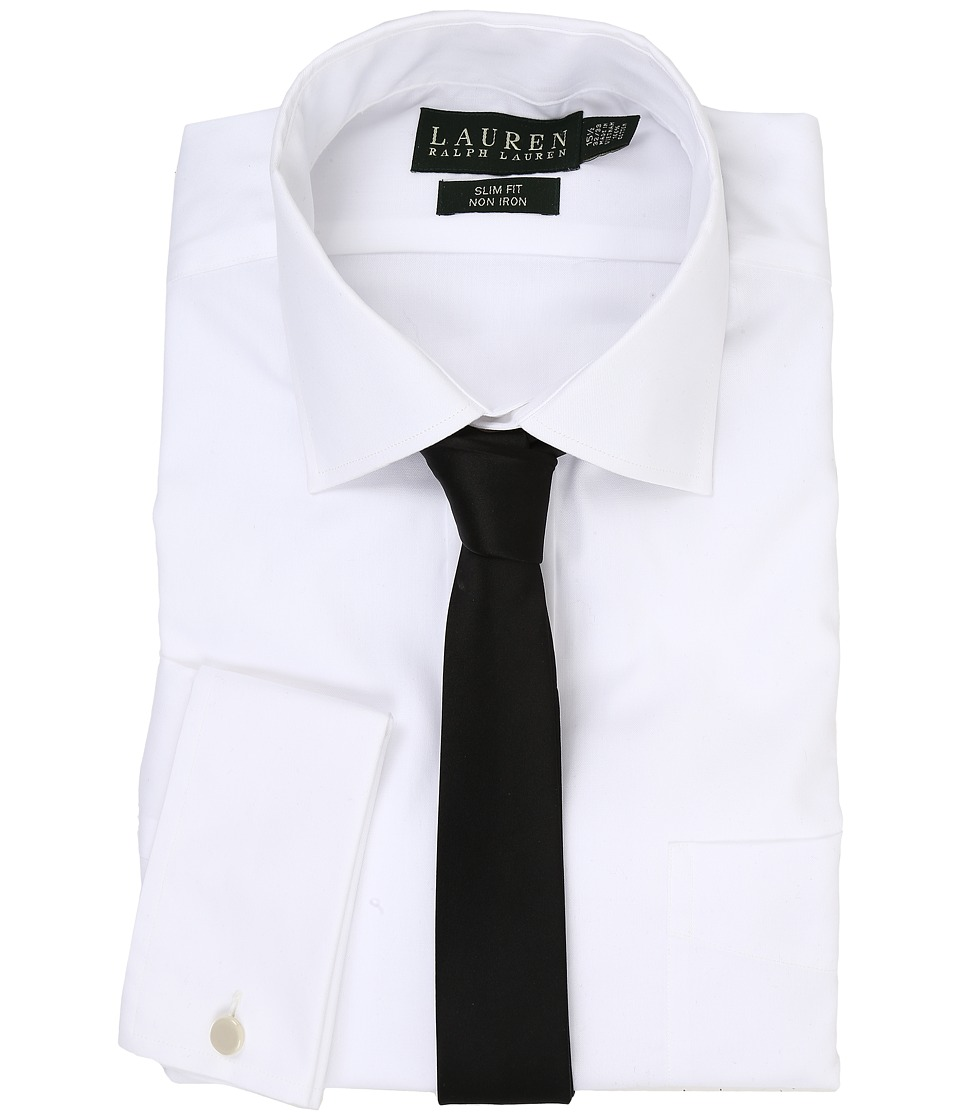 LAUREN Ralph Lauren - Pinpoint Spread Collar Slim Shirt w/ French Cuff (White) Men's Long Sleeve Button Up