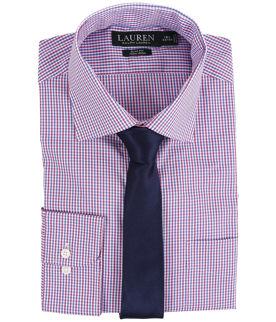 LAUREN Ralph Lauren - Check Spread Collar Slim Shirt (White/Blue/Red) Men's Long Sleeve Button Up