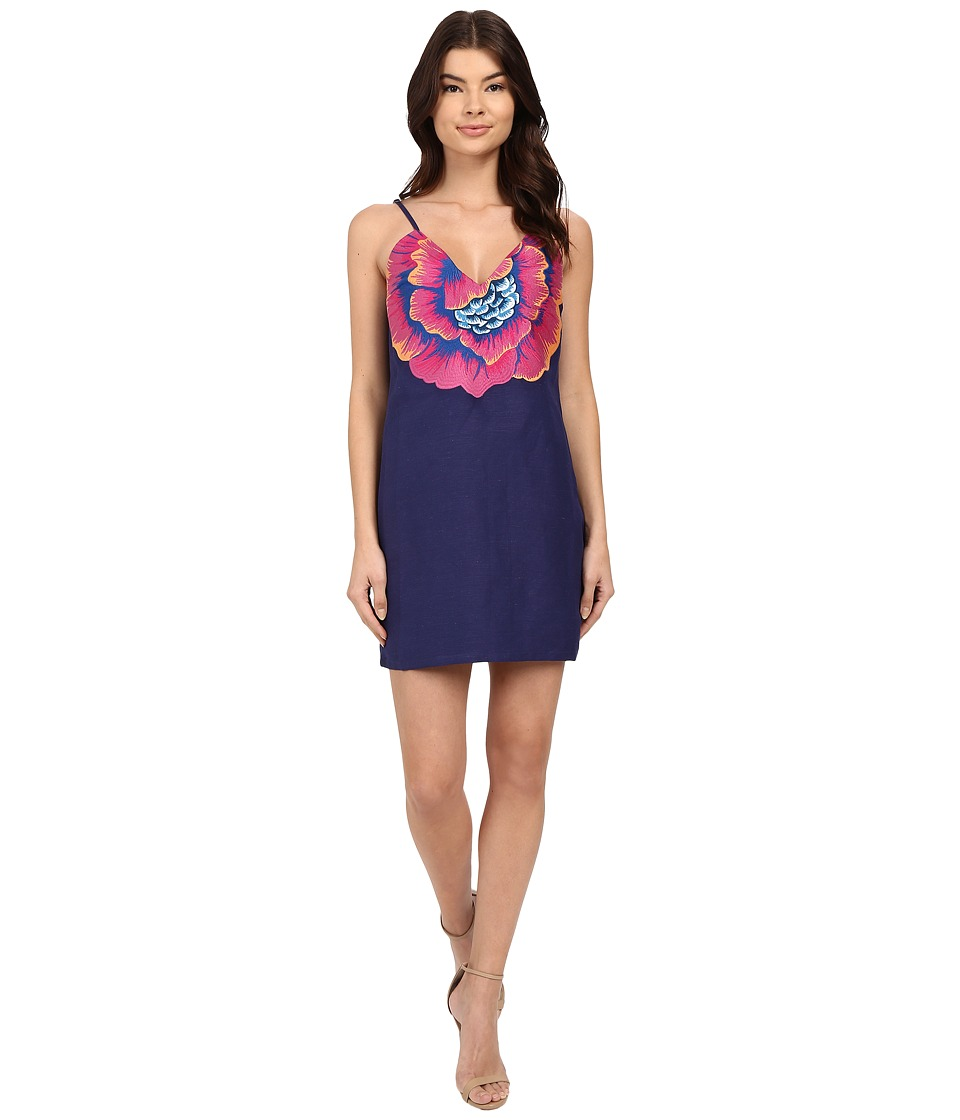 Mara Hoffman Linen Embroidered V-Neck Dress (Indigo) Women