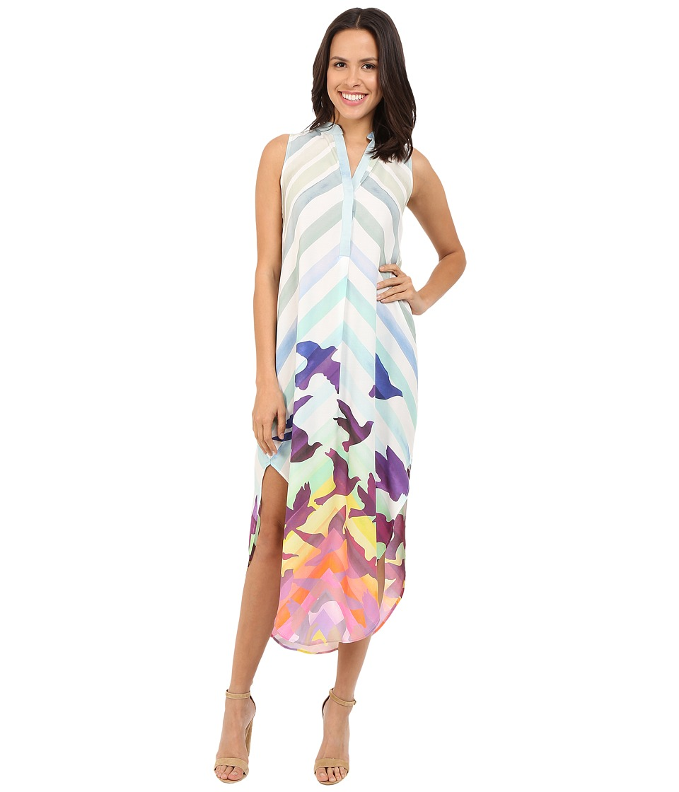 Mara Hoffman - Rayon Sleeveless Shirtdress (White Multi) Women's Dress
