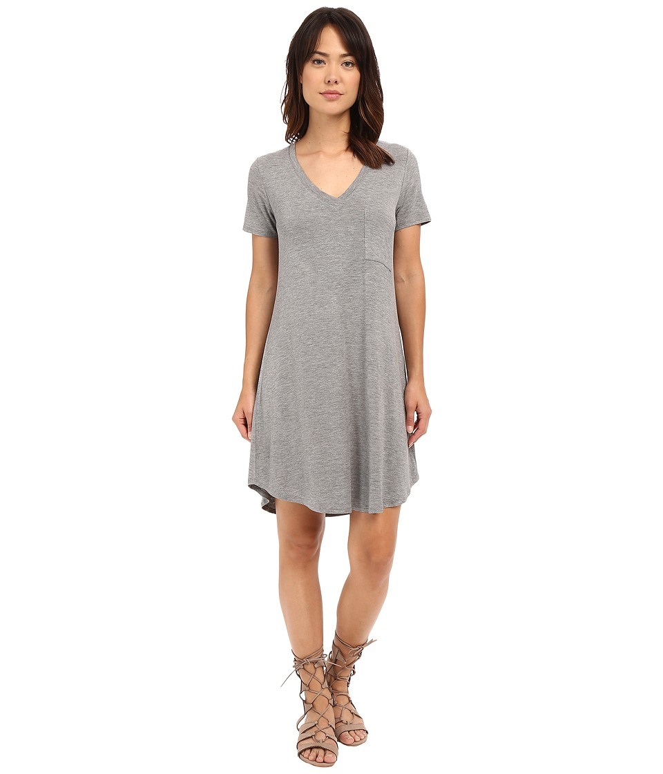 HEATHER - V-Neck Pocket Tee Dress (Heather Grey) Women's Dress