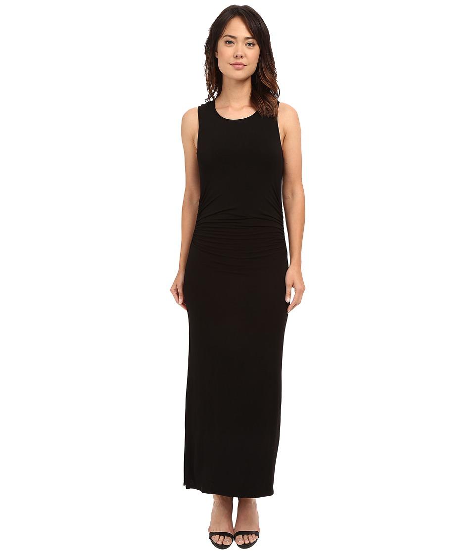 HEATHER - Shirred Midi Tank Dress (Black) Women's Dress