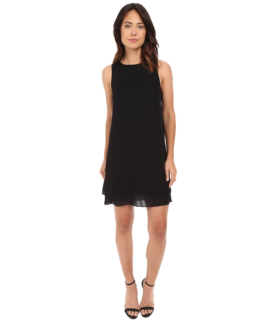 HEATHER - Georgette Layered Dress (Black) Women's Dress