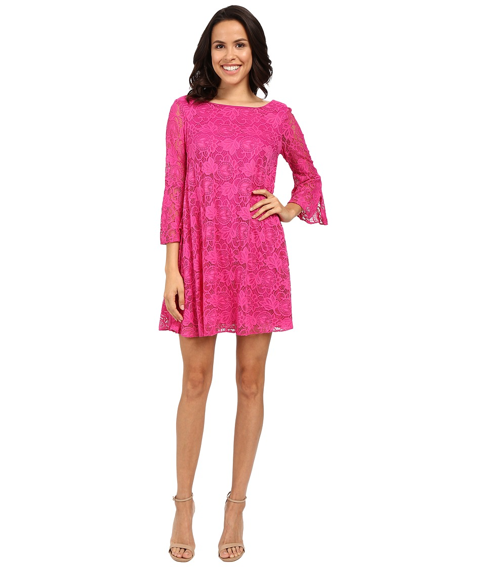 Badgley Mischka - Flare Belle Sleeve Dress (Fuchsia) Women's Dress