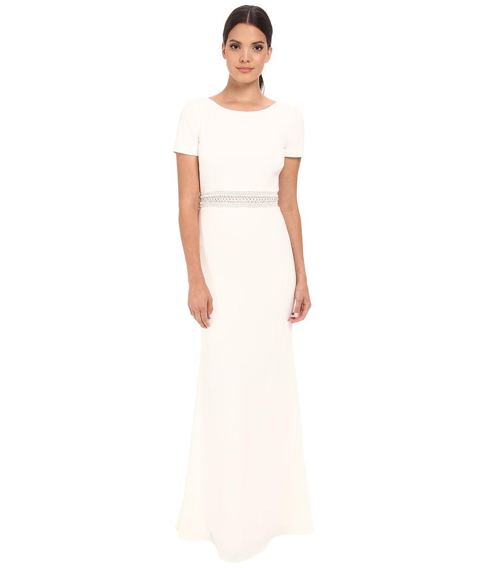 Badgley Mischka - T-Shirt Cascade Gown (Ivory) Women's Dress