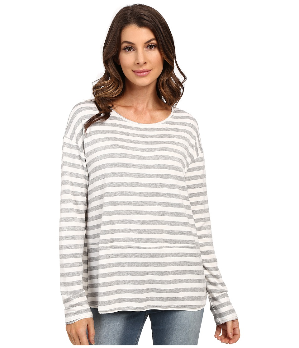HEATHER - French Terry Pullover (Heather Grey/White) Women's Long Sleeve Pullover