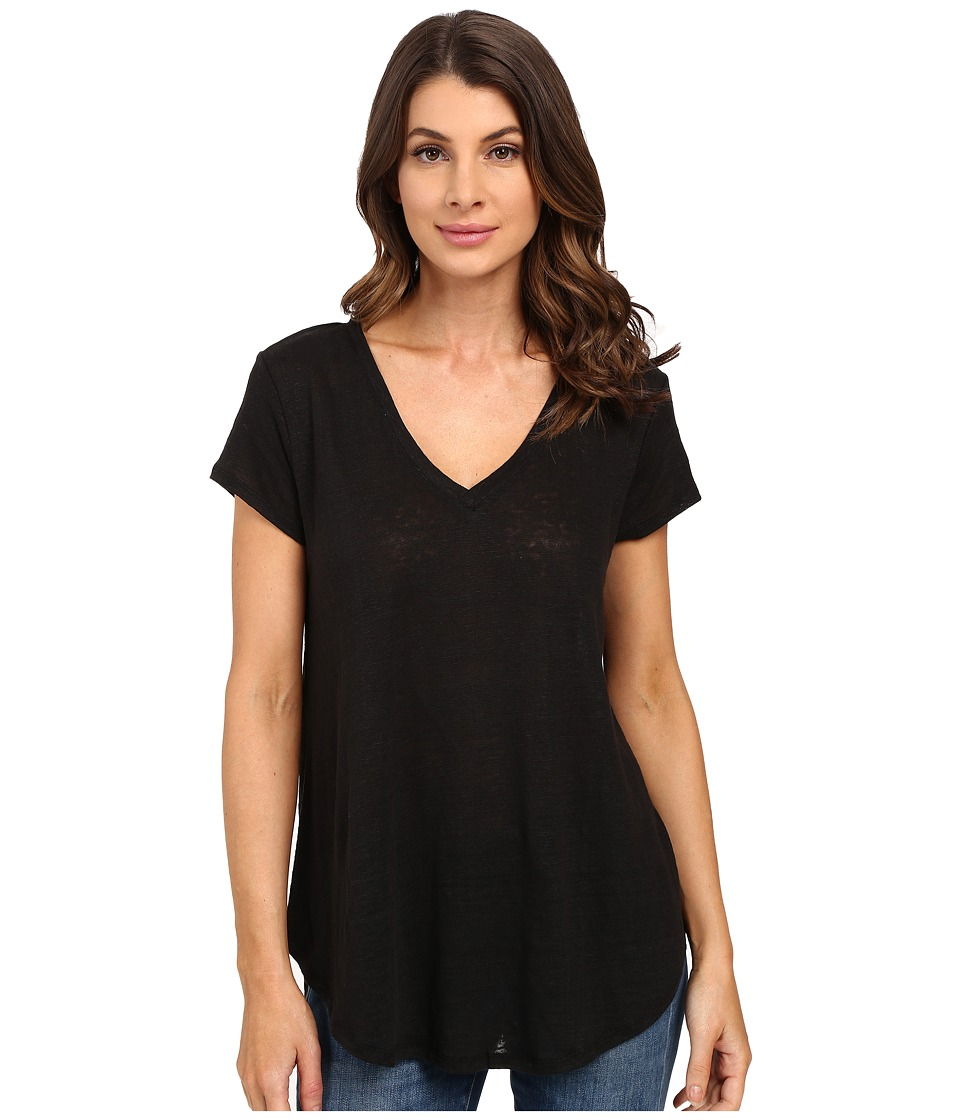 HEATHER - Linen V-Neck Tee (Black) Women's Short Sleeve Pullover