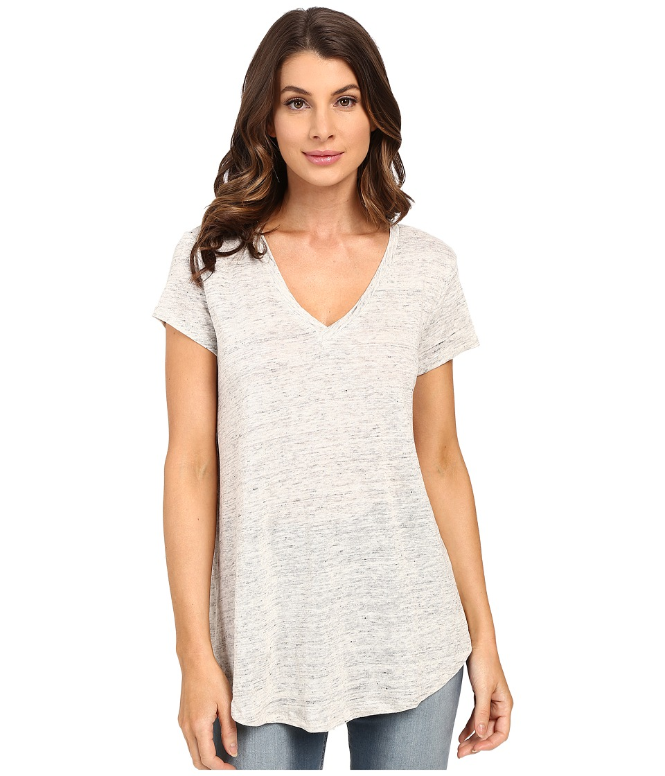 HEATHER - Linen V-Neck Tee (Heather Grey) Women's Short Sleeve Pullover