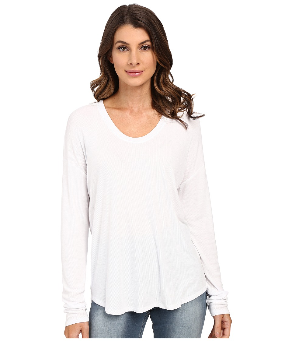 HEATHER - Long Sleeve Rib Shirt Tail Tee (White) Women's Long Sleeve Pullover