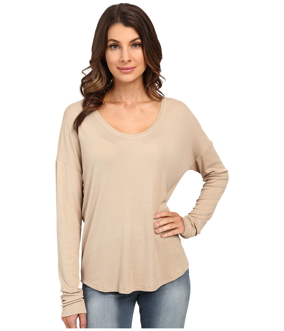 HEATHER - Long Sleeve Rib Shirt Tail Tee (Khaki) Women's Long Sleeve Pullover