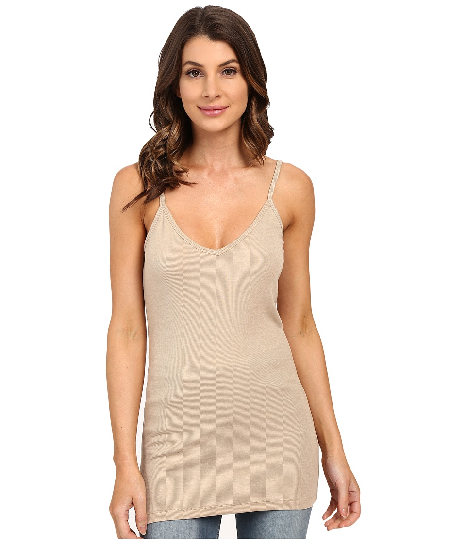 HEATHER - Rib Bubble V-Cami Top (Khaki) Women's Short Sleeve Pullover