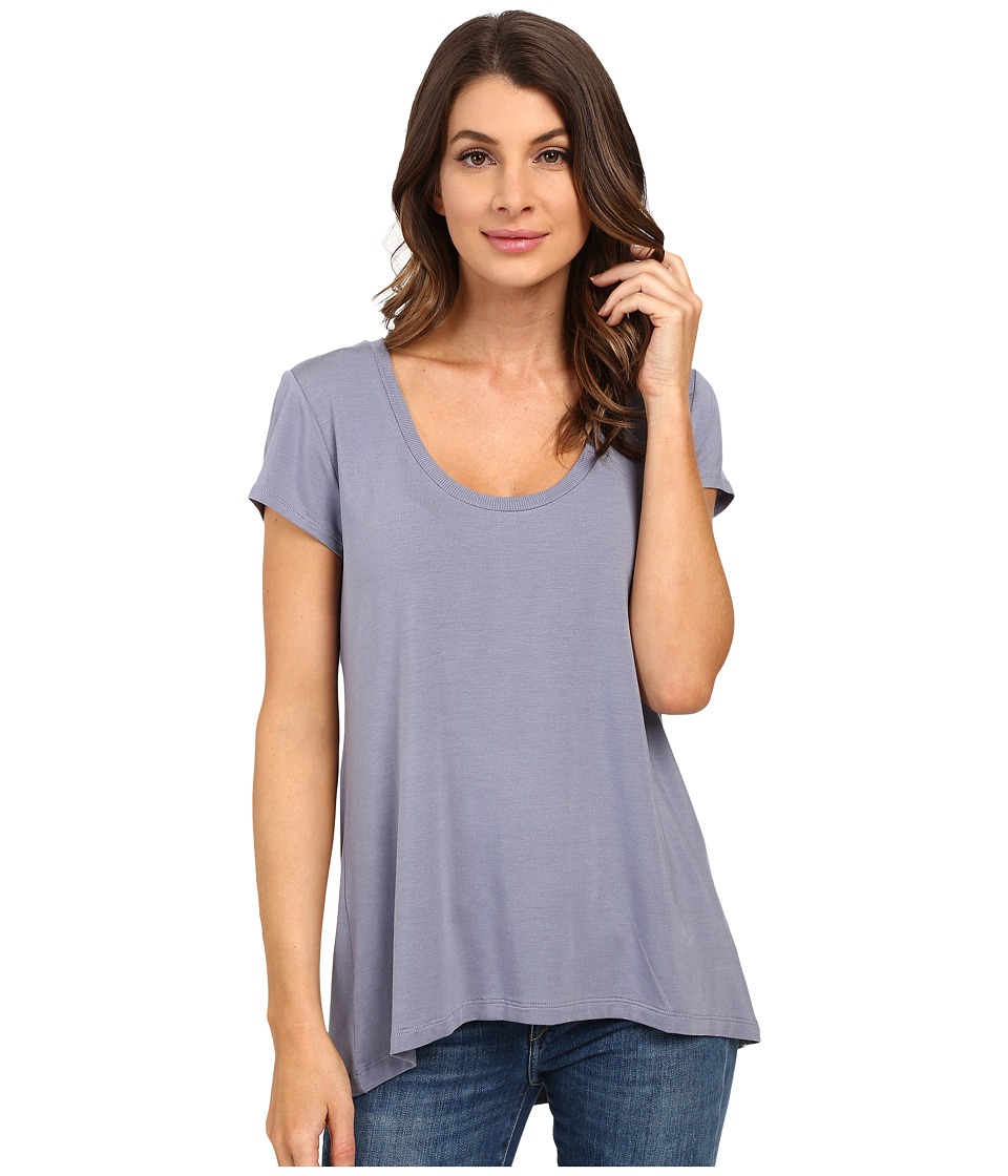 HEATHER - Scoop Neck Tee (Quarry) Women's Short Sleeve Pullover