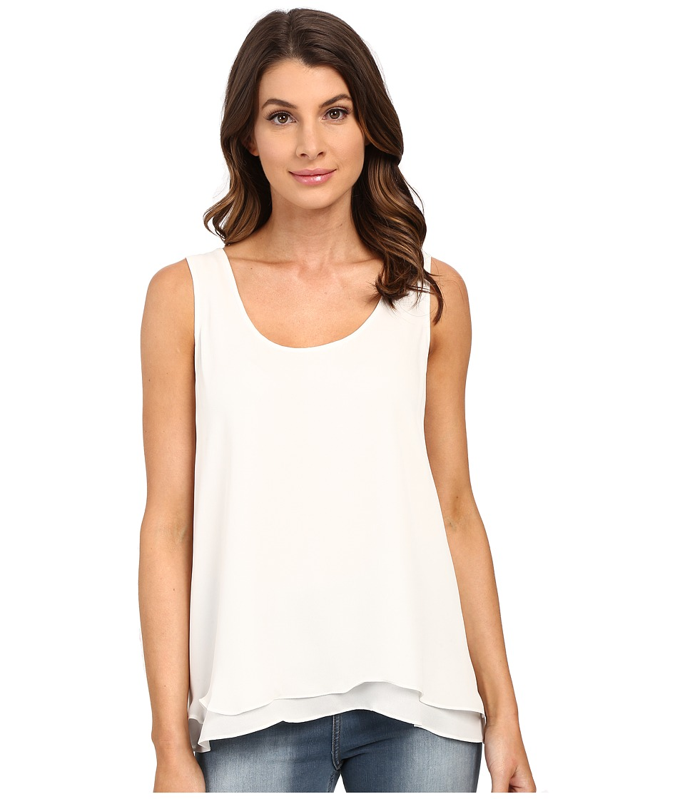 HEATHER - Silk Double Layer Tank Top (White) Women's Sleeveless