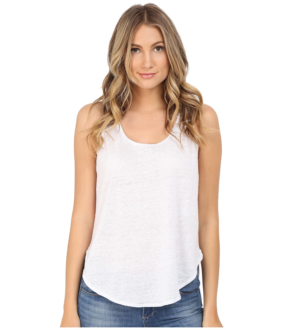 HEATHER - Linen Scoop Tank Top (White) Women's Sleeveless