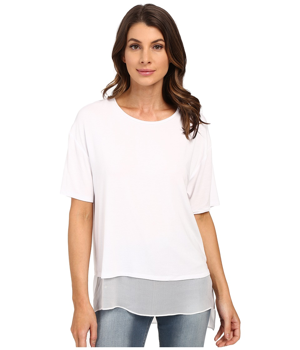 HEATHER - Silk Lined Tee (White) Women's Short Sleeve Pullover