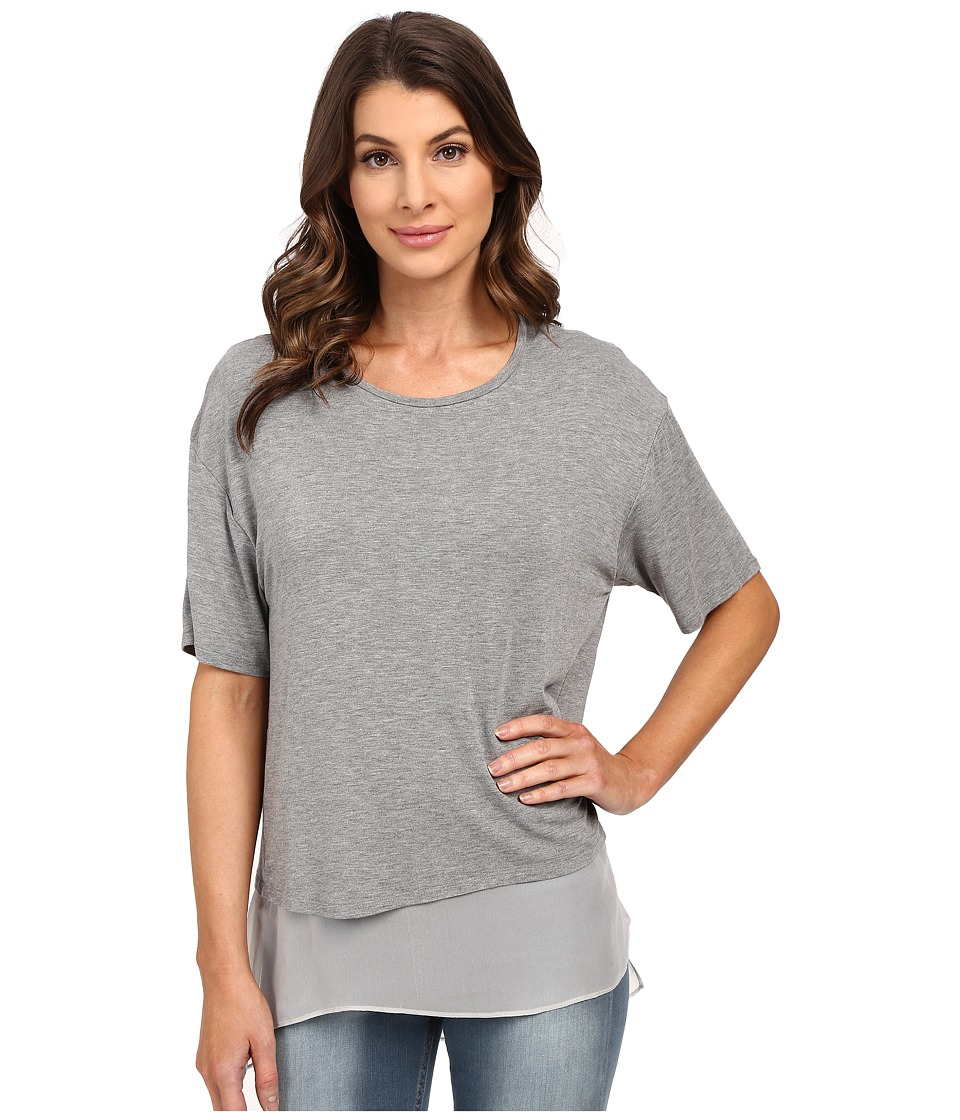 HEATHER - Silk Lined Tee (Heather Grey) Women's Short Sleeve Pullover
