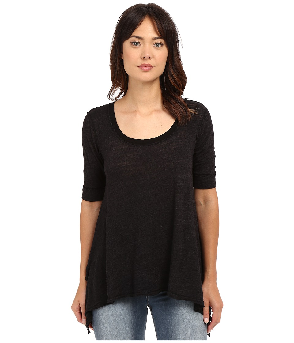 HEATHER - Votton Gauze 3/4 Sleeve Scoop Neck (Black) Women's Clothing