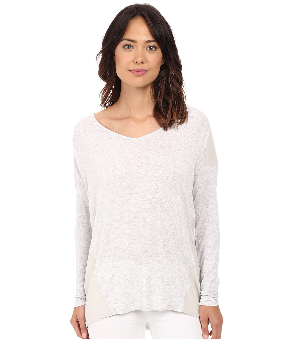 HEATHER - Silk Panel Raglan Top (Heather White) Women's Long Sleeve Pullover