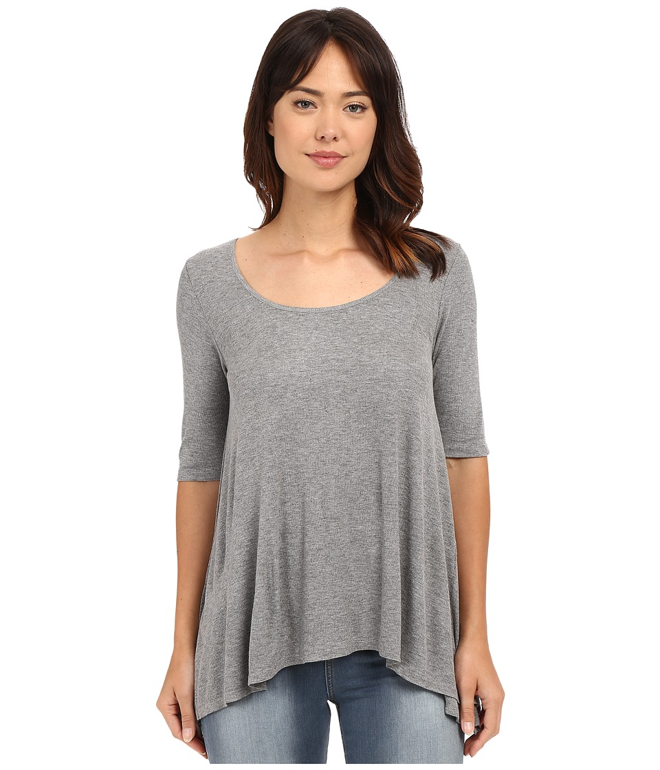 HEATHER - 3/4 Sleeve Scoop Neck (Heather Grey) Women's Clothing