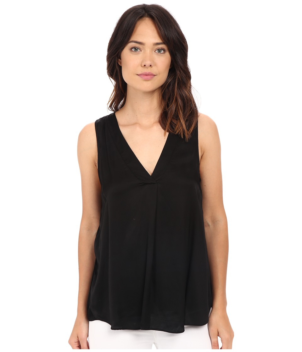 HEATHER - Woven Layered Split Tank Top (Black) Women's Sleeveless