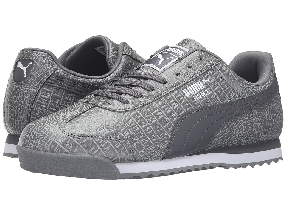 PUMA - Roma Texture (Steel Gray/Puma White) Men's Shoes
