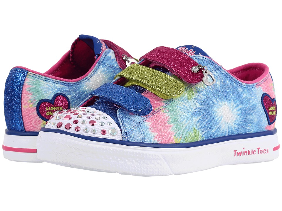 SKECHERS KIDS - Twinkle Breeze 10657L Lights (Little Kid/Big Kid) (Blue/Hot Pink) Girl's Shoes