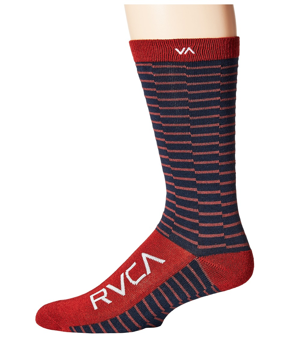 RVCA - Makeshift Sock (Cinabar) Men's Crew Cut Socks Shoes