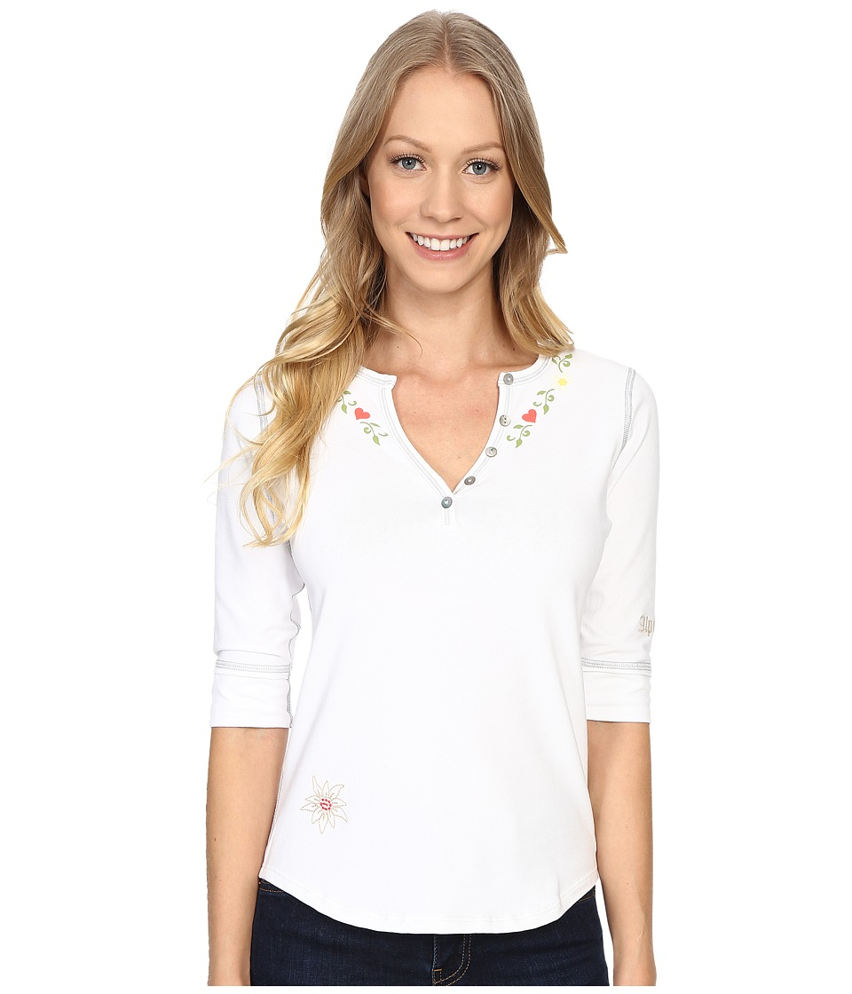 Alp-n-Rock - Alpine Retreat II Henley Shirt (White) Women's Clothing