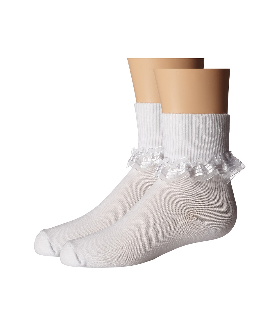 Jefferies Socks - Stripe Lace 2-Pack (Infant/Toddler/Little Kid) (White) Girls Shoes