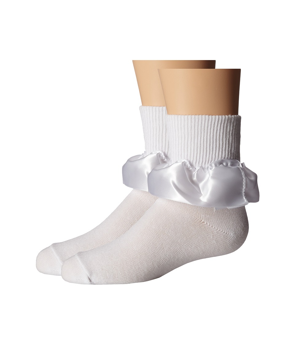 Jefferies Socks - Satin Ribbon Lace 2-Pack (Infant/Toddler/Little Kid) (White) Girls Shoes