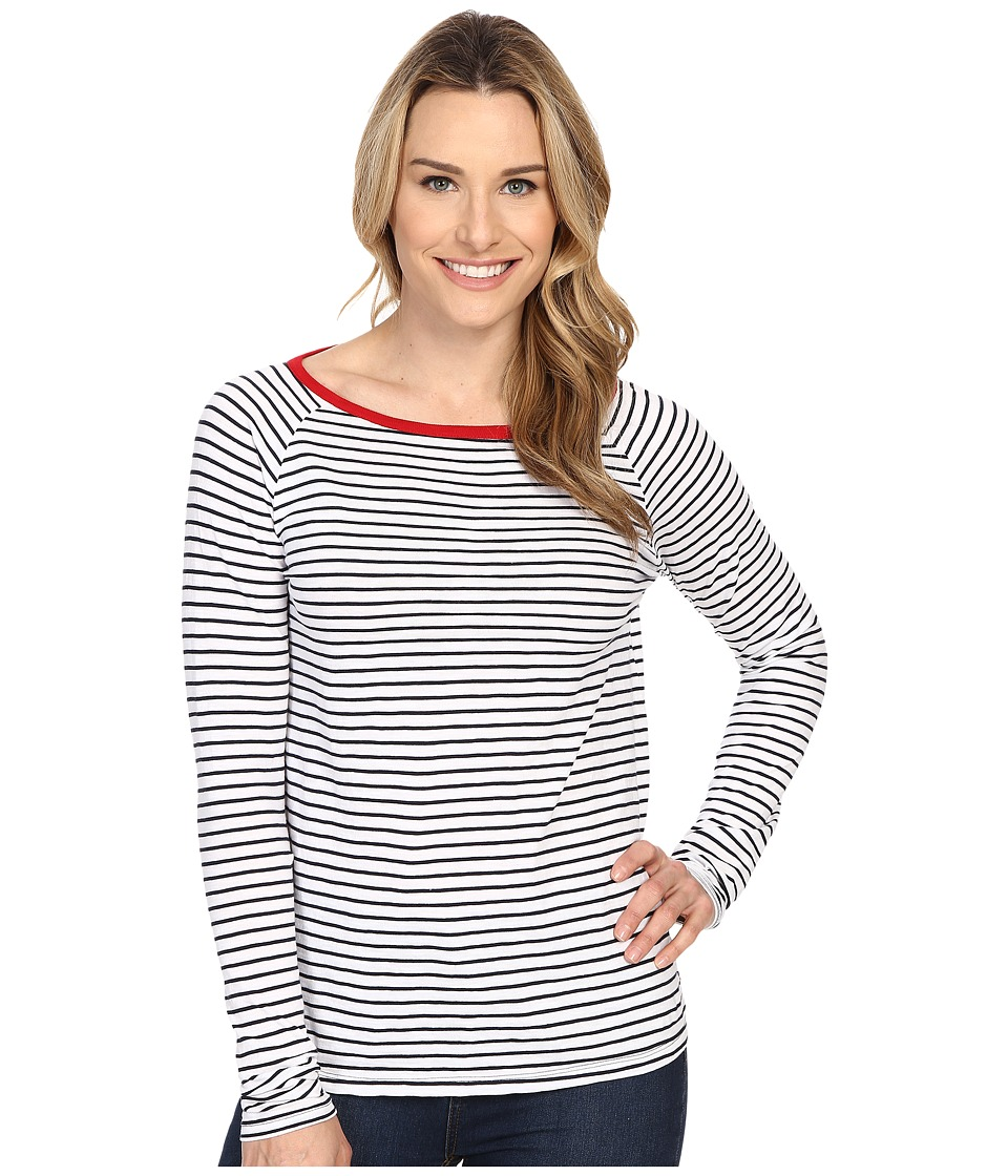 Jag Jeans - Brier Stripe Tee Classic Fit Shirt Striped Jersey (White/Navy) Women