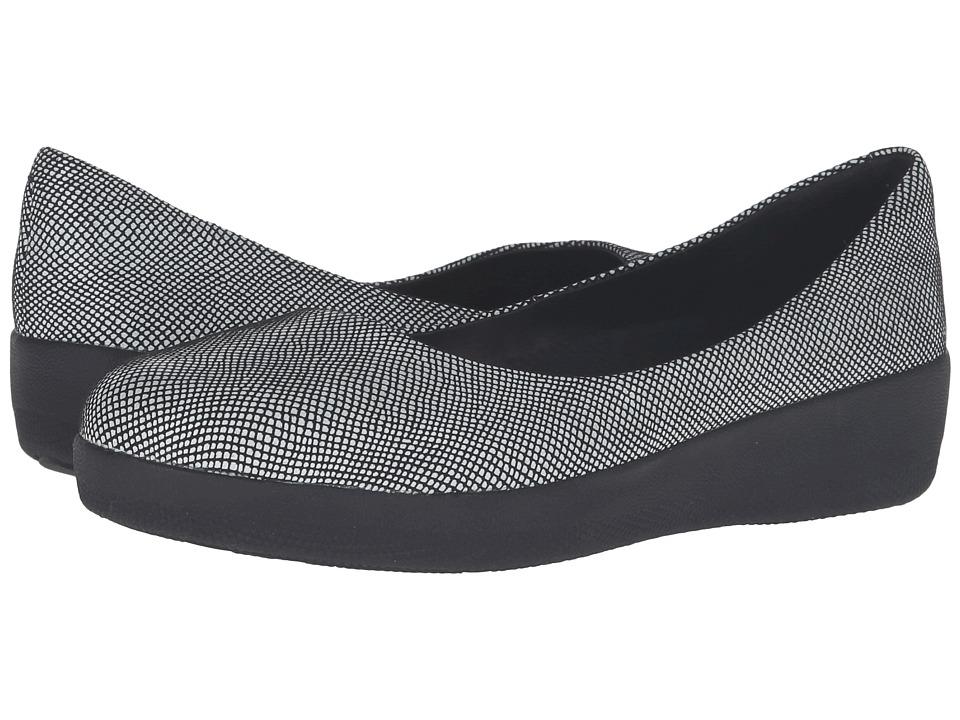 FitFlop - Suede Superballerina (Black Foil Snakeprint) Women's Flat Shoes