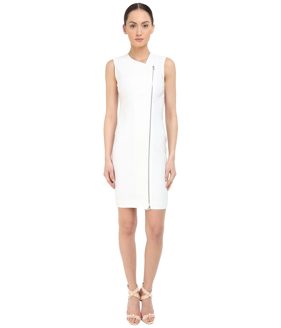 YIGAL AZROU L - Zip Front Sleeveless Dress (White) Women's Dress