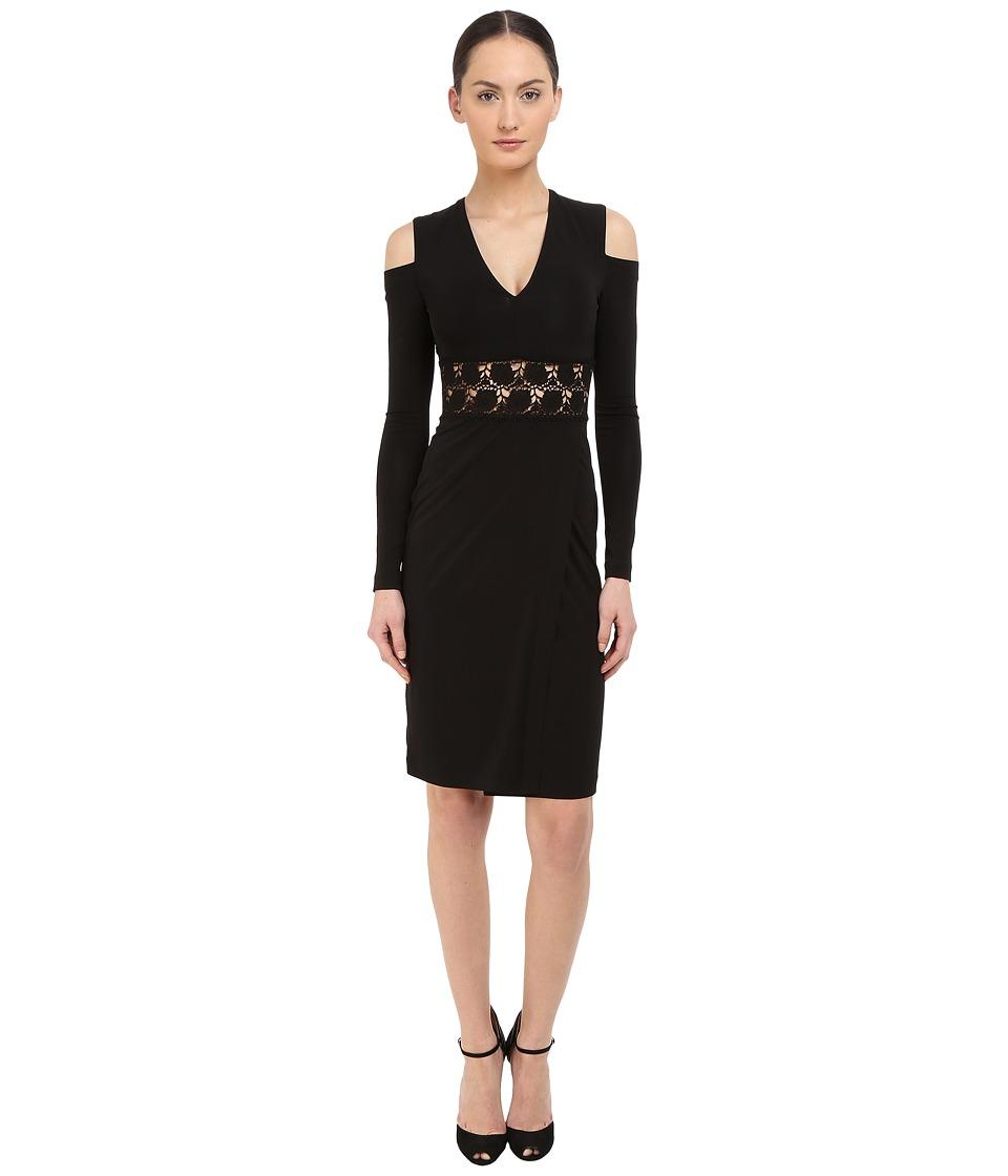 YIGAL AZROU L - Cold Shoulder Long Sleeve V-Neck Dress (Black) Women's Dress
