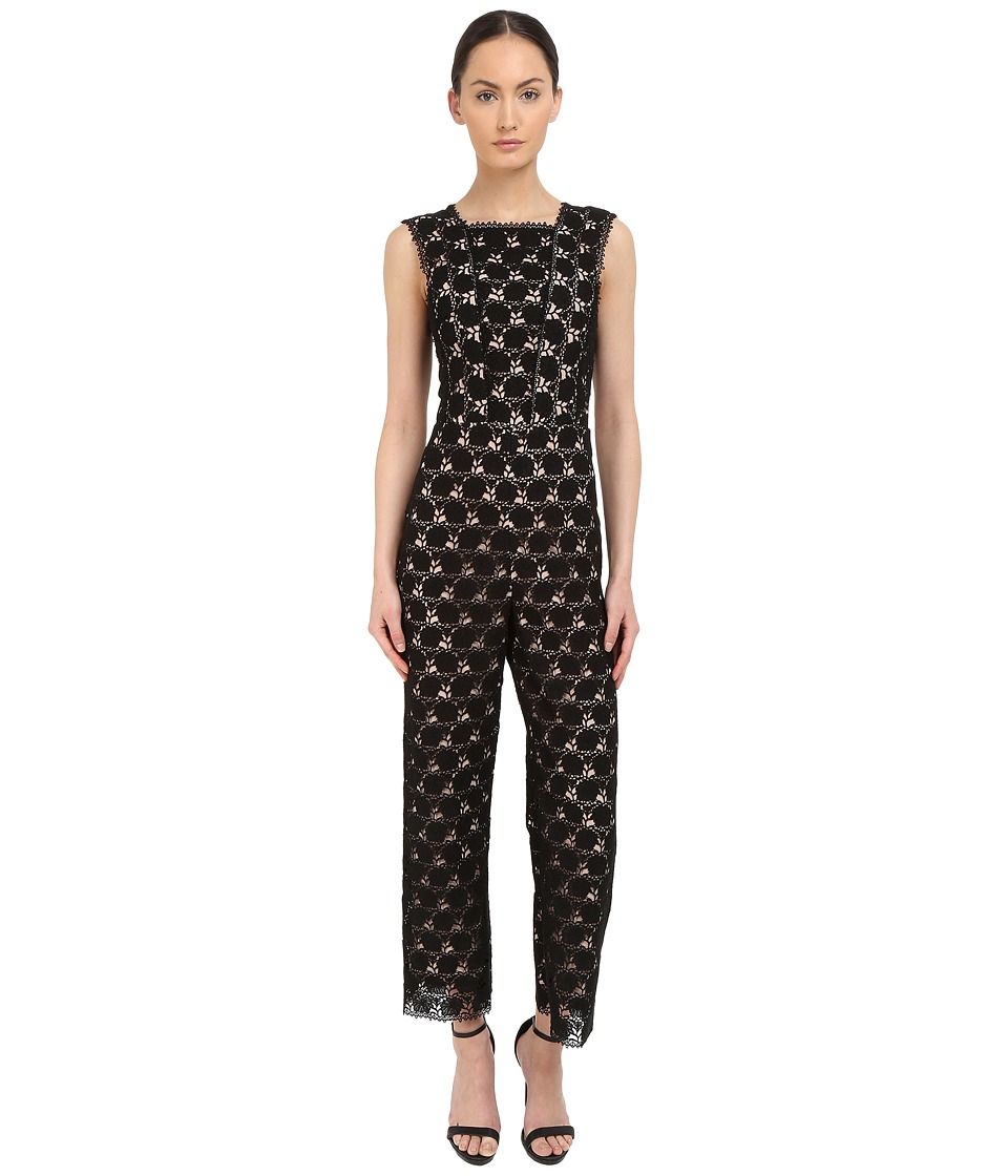 YIGAL AZROU L - Circle Lace Square Neck Sleeveless Jumpsuit (Black) Women's Jumpsuit & Rompers One Piece